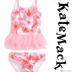 Kate Mack Butterfly Ballet Pink Swim Skirted 2 Piece NWT 2T-6X